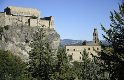 View of the buildings of the church of Saint Mary of the Assumption, in the Basilicata region.