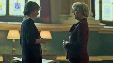 Lady Fermoy and Diana during a scene in The Crown Season 4