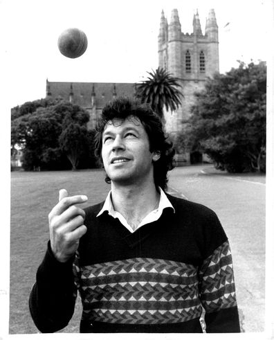 Imran Khan at St John's Oval, Sydney University, yesterday..... preparing for his first grade match. October 22, 1984. (Photo by Antonin Cermak/Fairfax Media).