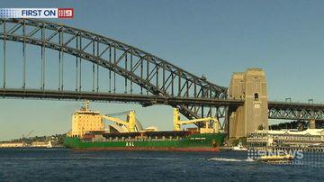 Huge steel ship sails into Sydney harbour