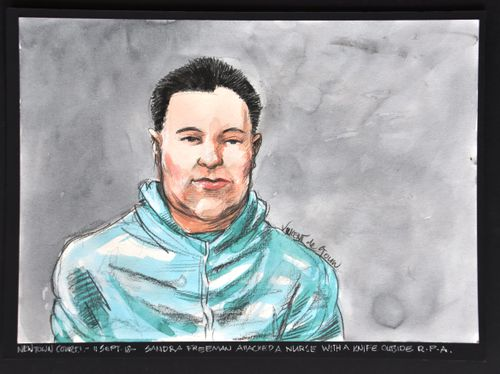 A sketch of Sandra Freeman following yesterday's attack at a McCafe in Camperdown.