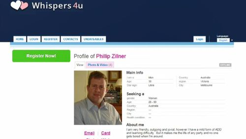 Zillner's dating profile on Whispers4u has been revealed.