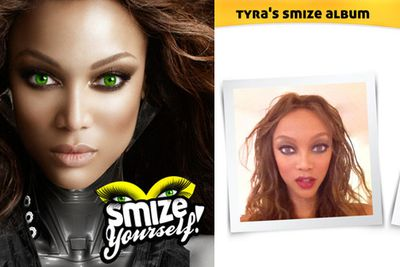 <i>Verb</i><br/>A facial modelling technique that is literally a 'smile with your eyes'. <i>America's Next Top Model</i> host Tyra Banks coined the term in 2009, and has since launched an iPhone app called 'Smize Yourself!', which uses facial morphing technology to 'smize' users' own photos. The result is something like a Bratz doll. 'Smize Yourself!' has an app rating of one star.<br/><br/>Images: Smize Yourself