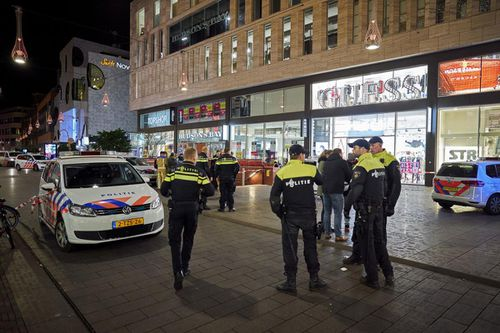 Police are on scene after three people were stabbed at a shopping street in The Hague, Netherlands.