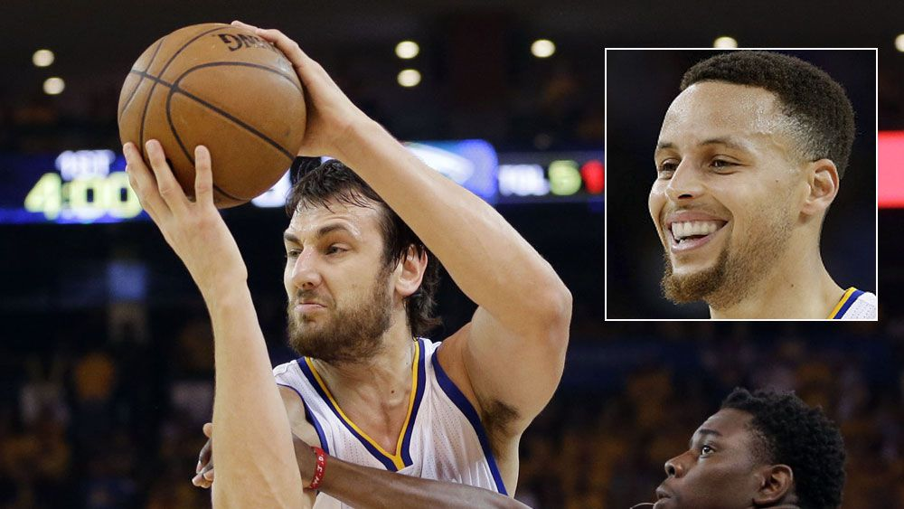 Andre Bogut and (inset) Steph Curry. (AAP and Getty)
