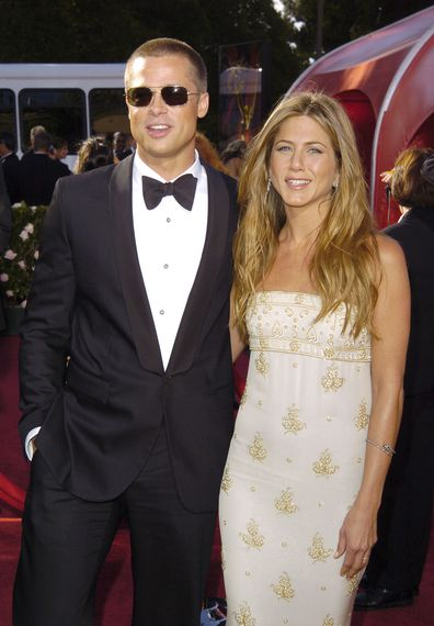 Brad Pitt and Jennifer Aniston at the 56th Annual Primetime Emmy Awards in 2004.
