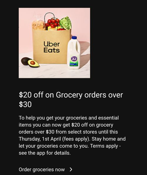 UberEats have offered specials around grocery orders through the service during Brisbane's three day lockdown.