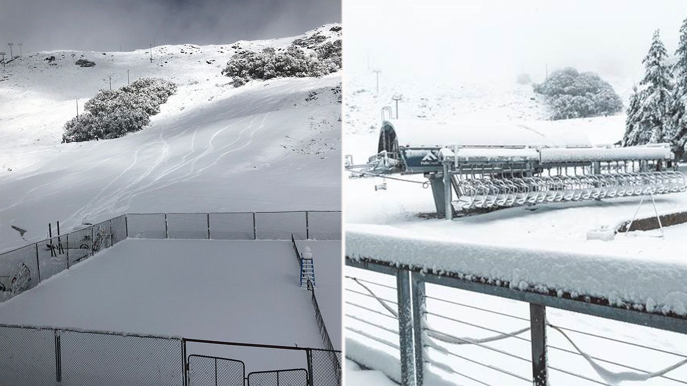 Snow falling in the Alps on second day of summer