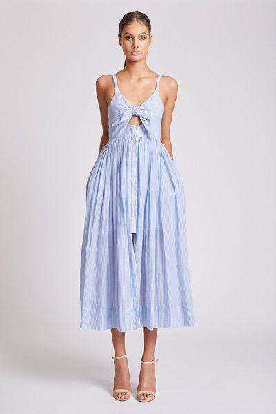 "<em><a href=""https://shonajoy.com.au/products/st-martin-tie-front-midi-dress"" target=""_blank"">Shona Joy St Martin Tie Front Midi Dress, $290 </a></em>"