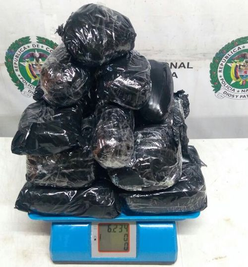 She was arrested with 5.8kg of cocaine at Bogota airport.