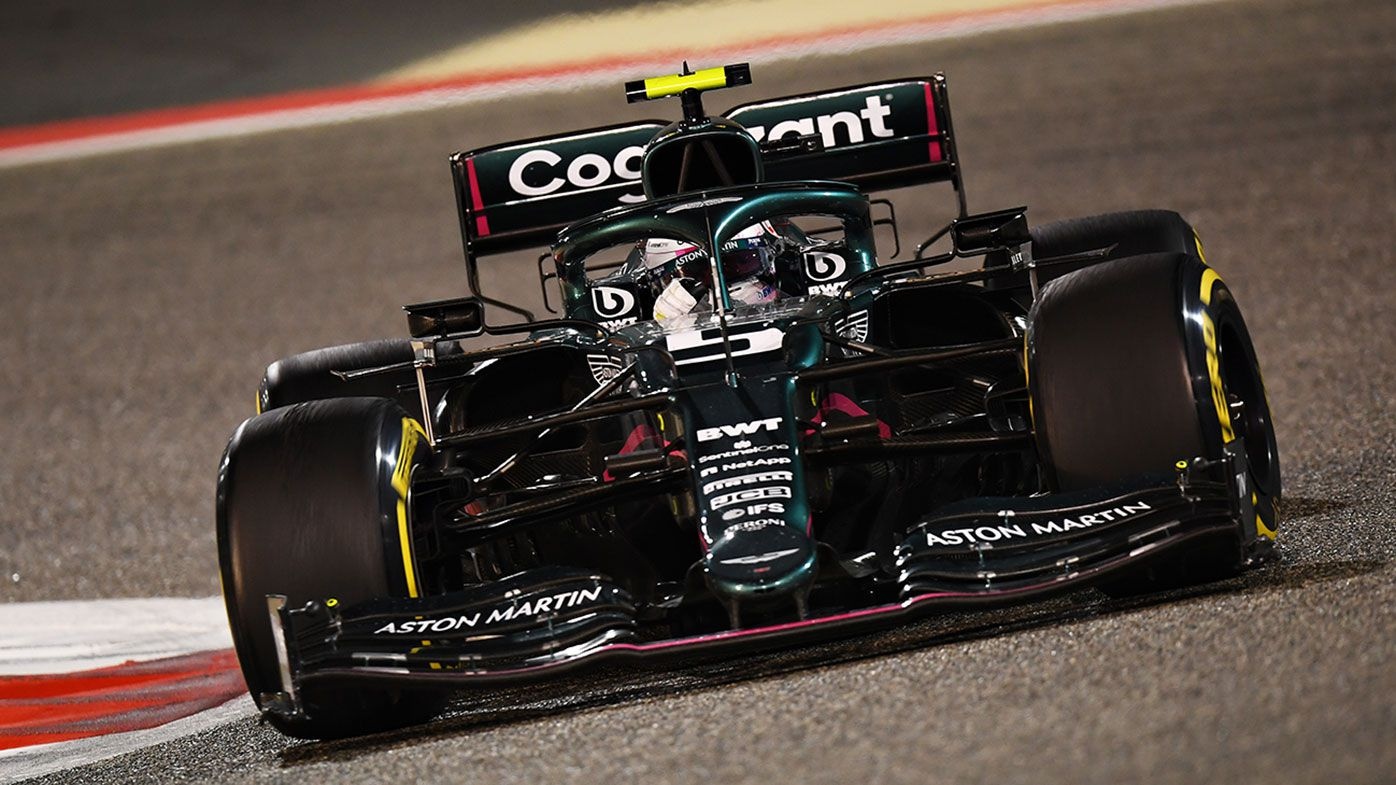 Sebastian Vettel in action for Aston Martin at the Bahrain Grand Prix.