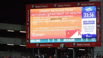 The Victorian government's latest guideline shown on the big screen at GMHBA Stadium