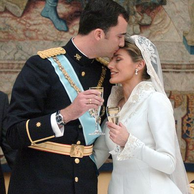 Crown Prince Felipe and Letizia Ortiz during the wedding banquet at the Royal Palace on 22 May, 2004