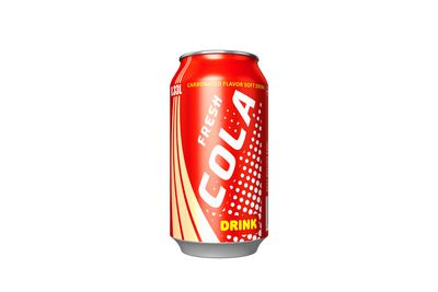 Soft drink can: 38g sugar (or more)/9 teaspoons per 375ml serve