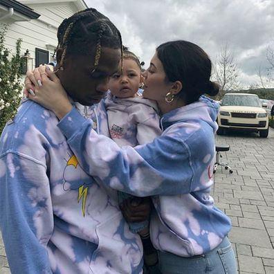 Kylie Jenner, Travis Scott and their daughter Stormi.