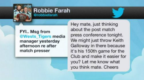 The message Farah uploaded to Twitter. (Twitter)