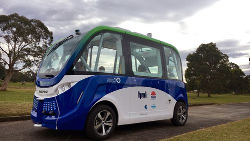 A driverless shuttle bus being trialled at Sydney Olympic Park (AAP)