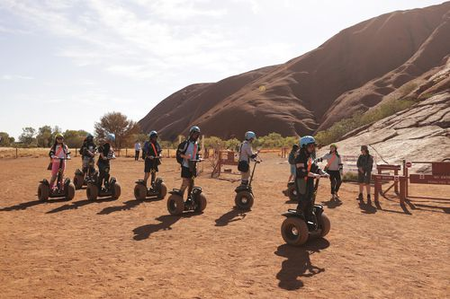 A segway tour at the base of Uluru the morning after the closure of climbing at Uluru, on Saturday 26 October 2019