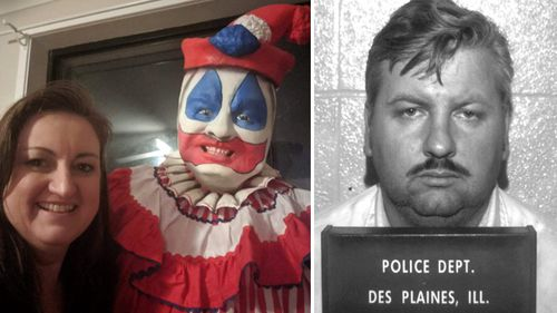 "True crime author Amanda Howard standing next to a life-size mannequin of serial killer John Wayne Gacy; Gacy, pictured in a mugshot (right) frequently performed in clown attire and makeup at children's parties. When he killed, he sometimes dressed as his alter egos ""Pogo the Clown"" or ""Patches the Clown."""