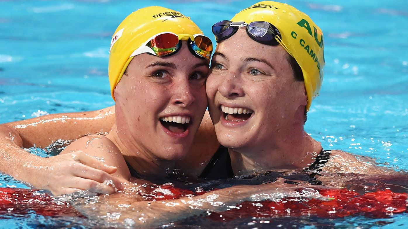 Aussie swimming sisters Bronte and Cate Campbell. (Getty-file)
