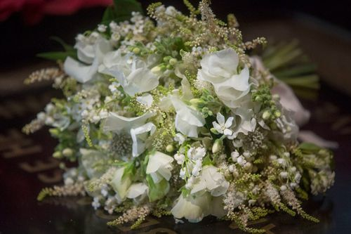 The bride's bouquet included one of Princess Diana's favourite flowers, forget-me-nots. Picture: PA