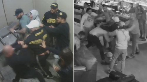 The calls come after CCTV footage was released of a mass bikie brawl that broke out in a Canberra strip club last year. Picture: Supplied.