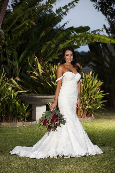 Davina, 26, opted for a stunning gown by Spanish designer Rosa Clara.