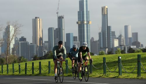 Cyclists are seen riding at Albert Park on September 09, 2020 in Melbourne, Australia.