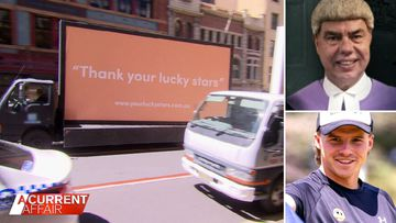 Judge's 'lucky stars' comments seen on billboard outside Sydney court