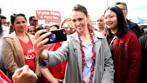 Prime Minister And Labour Leader Jacinda Ardern meets supporters at Otara Market on October 10, 2020 in Auckland, New Zealand.