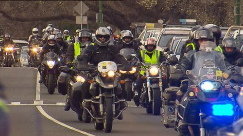 A 340-strong procession roared through Melbourne this morning, coming together at the Victoria Police Memorial. (9NEWS)