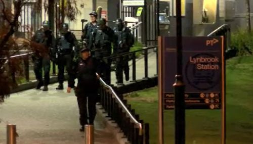 Riot police were seen at Lynbrook Station last night.