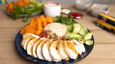 Easy coconut poached chicken with coconut rice recipe