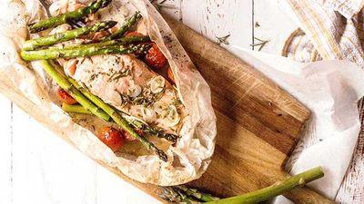 "Recipe:&nbsp;<a href=""http://kitchen.nine.com.au/2017/09/01/07/46/lemon-baked-salmon-with-spring-asparagus"" target=""_top"">Lemon baked salmon with spring asparagus</a>"