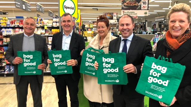 Australian Packaging Covenant Organisation chief executive Brooke Donnelly (far right) at Woolworths pushing a better recycling future. (Supplied)