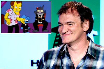 The season eight episode 'Simpsoncalifragilisticexpiala(Annoyed Grunt)cious' features the Itchy & Scratchy cartoon 'Reservoir Cats', a parody of Quentin Tarantino's <i>Reservoir Dogs</i>. <br/><br/>He was asked to lend his voice to the spoof, but — according to Matt Groening — turned down the part because he didn't like the dialogue. <i>Simpsons</i> regular Dan Castellenata voiced the Tarantino stand-in instead.