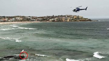 The man had to be escorted from the water after allegations of sexually inappropriate behaviour.