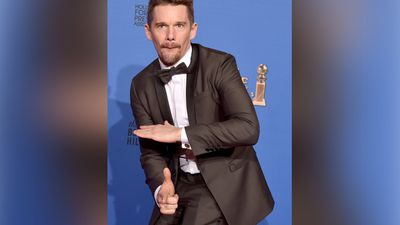 January 12, 2014: Ethan Hawke, a winner of Best Motion Picture - Drama for 'Boyhood', poses in the press room during the 72nd Annual Golden Globe Awards. <br><br> Photo by Kevin Winter, Getty Images.