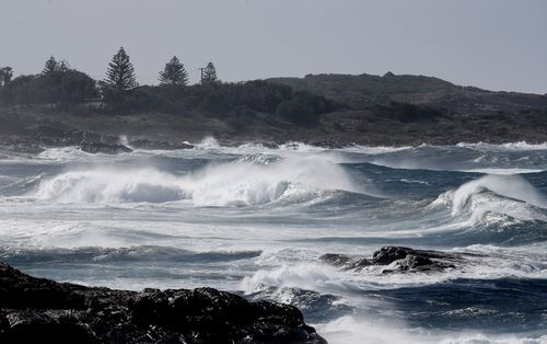 A severe weather warning is in place with hazardous surf also battering the NSW coastline.