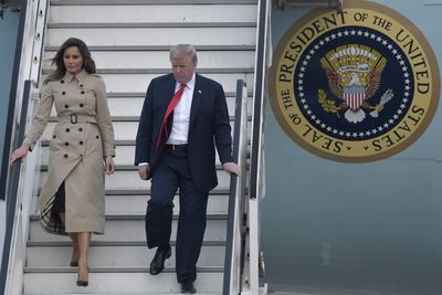 Melania Trump turns to a trenchcoat from Burberry for her arrival in Glasgow, Scotland, July 2018