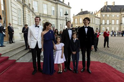 Prince Joachim, Princess Marie and their children arrive at a dinner party to celebrate Joachim's 50th  birthday.