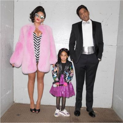 Beyonce as Barbie , Jay-Z and Blue Ivy in a sparkly tutu and moto jacket, 2016