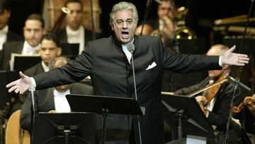 FILE - In this Thursday, Jan. 22, 2004, file photo, Placido Domingo sings during his performance at the National Theater in Santiago, Dominican Republic.