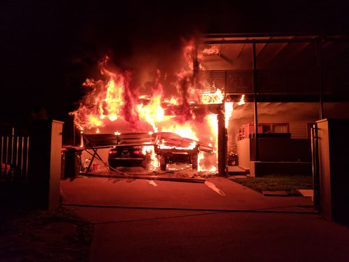 The fire started in the garage of the house.