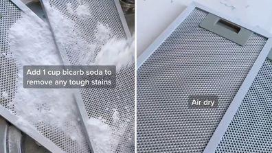 How to clean rangehood filters TikTok video