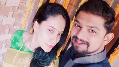 Sonam Shelar pictured with husband Sagar Shelar.