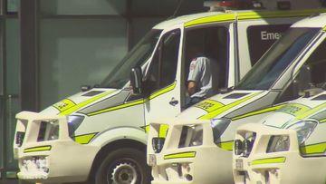 Ambulances line up at a hospital in Queensland.