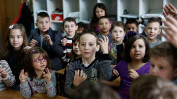 Three months on the class knows basic sign language. (AP Photo/Amel Emric)
