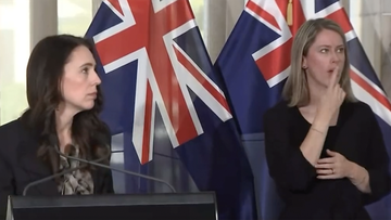Jacinda Ardern looked around quickly when an earthquake hit her press conference on October 22, 2021.