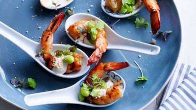 "<a href=""http://kitchen.nine.com.au/2016/05/04/15/28/hayden-quinns-grilled-ginger-prawns-with-yuzu-mayo-soy-beans-and-roast-ground-rice"" target=""_top"">Hayden Quinn's grilled ginger prawns with yuzu mayo, soy beans and roast ground rice</a> recipe - sometimes presentation is everything, all it takes is a great recipe and a little bit of artistic flair"